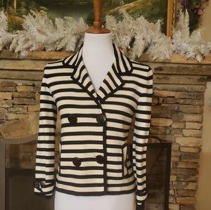 J.Crew Navy/White stripe knit jacket.